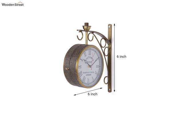Iron 6-inch Double Sided Leather Coated Station Wall Clock-5