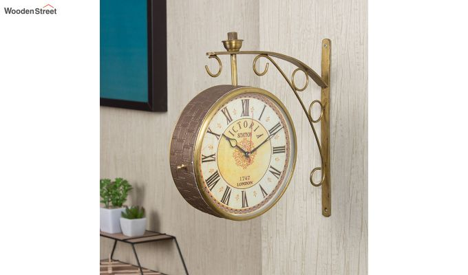 Iron 8-inch Double Sided Leather Coated Station Wall Clock-1