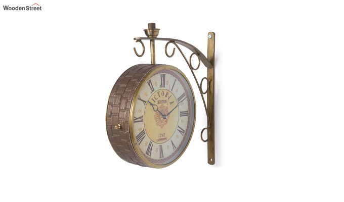 Iron 8-inch Double Sided Leather Coated Station Wall Clock-2