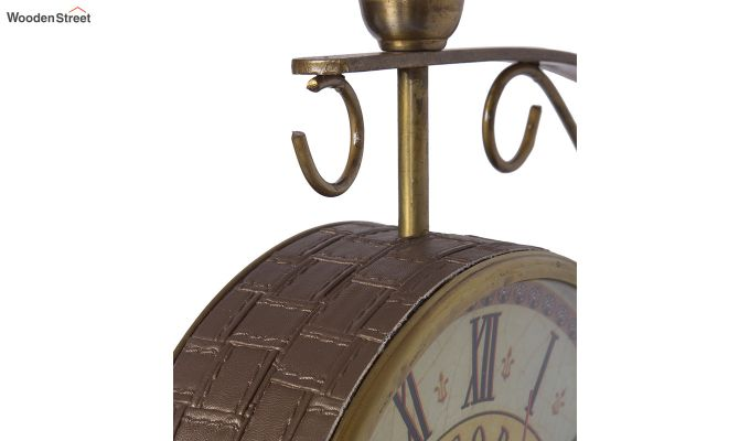 Iron 8-inch Double Sided Leather Coated Station Wall Clock-4