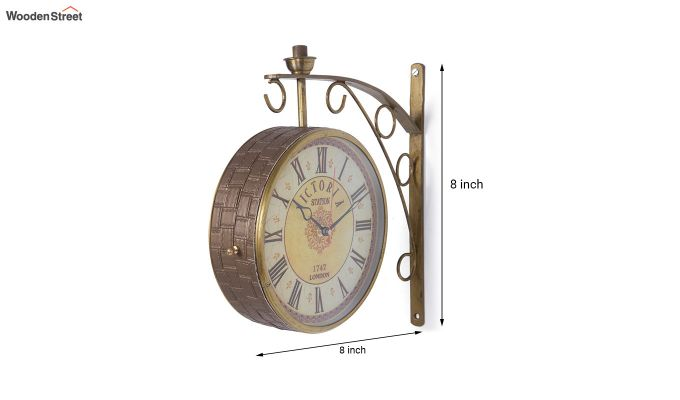 Iron 8-inch Double Sided Leather Coated Station Wall Clock-5