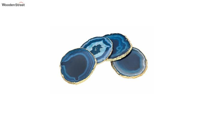 Agate Gem Therapy Blue Coasters - Set of 2-3
