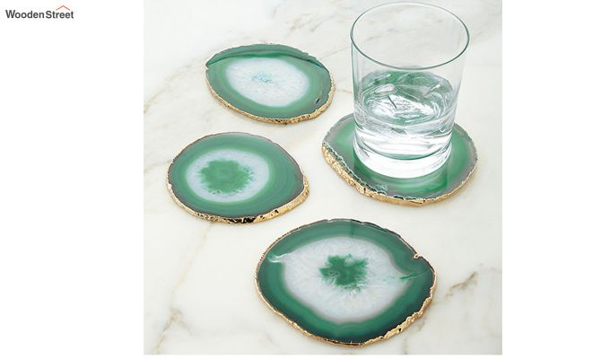 Agate Gem Therapy Green Coasters - Set of 2-1