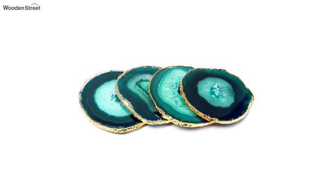 Agate Gem Therapy Green Coasters - Set of 2-3