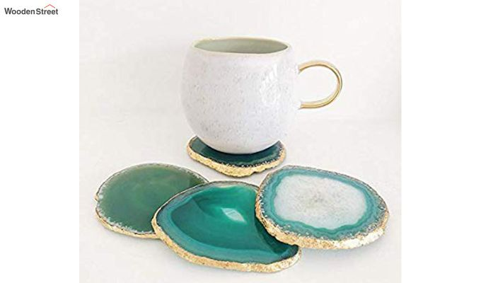 Agate Gem Therapy Green Coasters - Set of 2-2