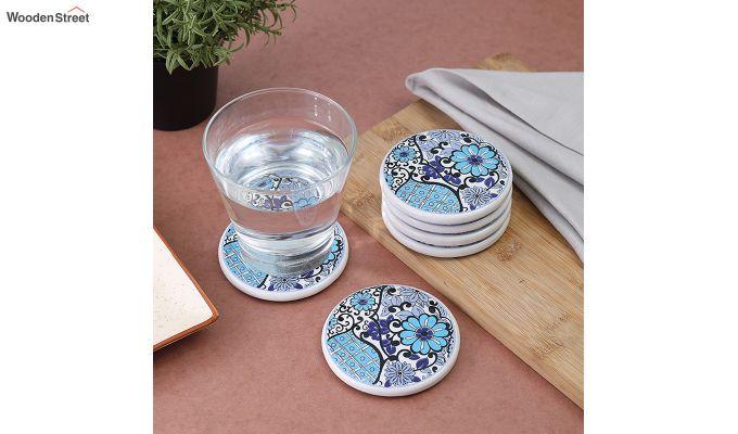 Blue Flowers Ceramic Coasters - Set of 6-1