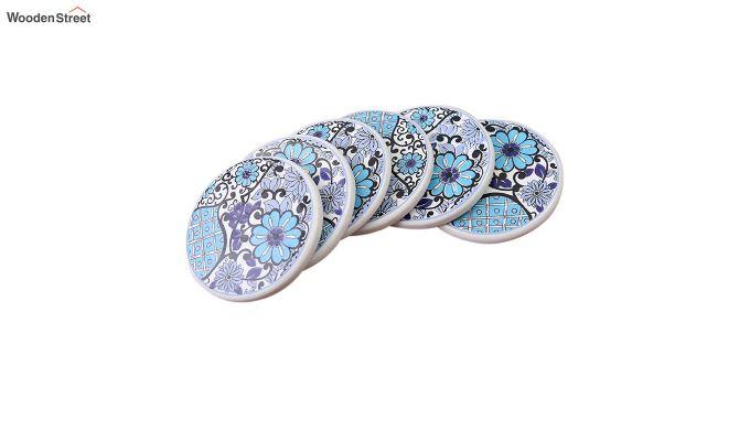 Blue Flowers Ceramic Coasters - Set of 6-2