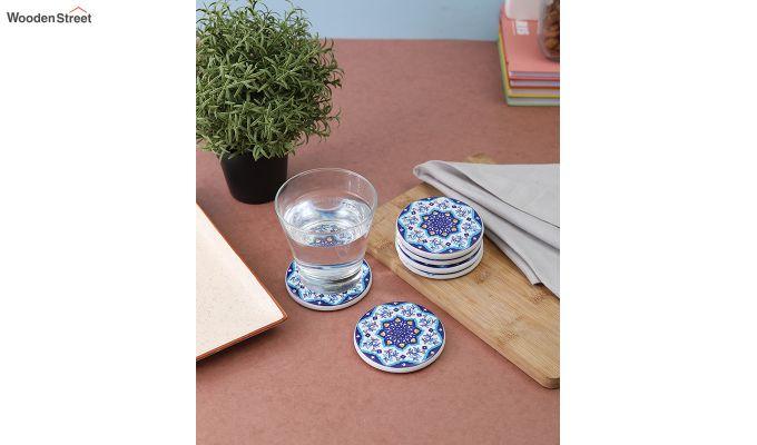 Blue Manadala Ceramic Coasters - Set of 6-1