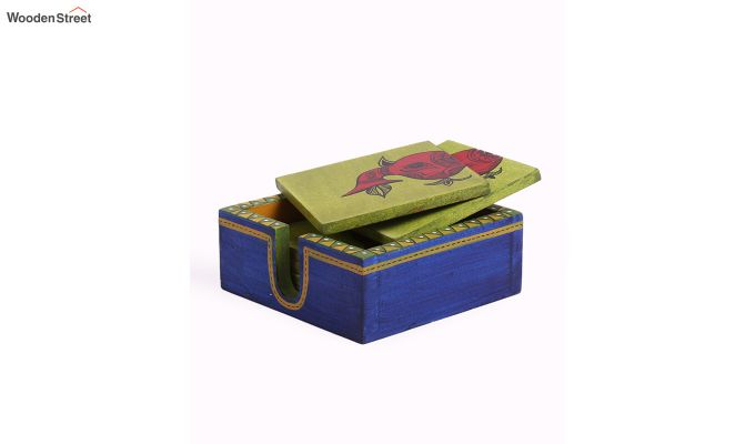 Elephant Blue Green Wooden Coasters - Set of 6-4