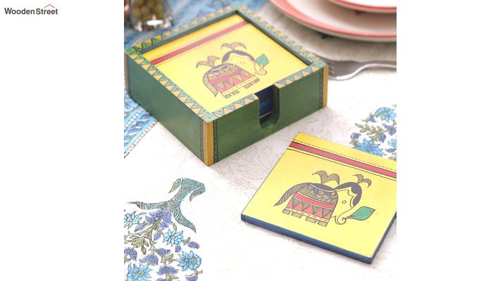 Hand Crafted Yellow Ethnic Wooden Coasters - Set of 6-1