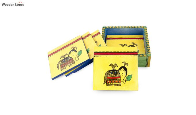 Hand Crafted Yellow Ethnic Wooden Coasters - Set of 6-2