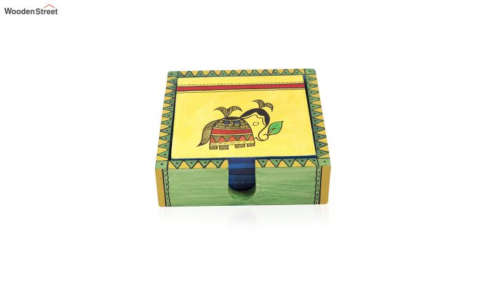 Hand Crafted Yellow Ethnic Wooden Coasters - Set of 6-3