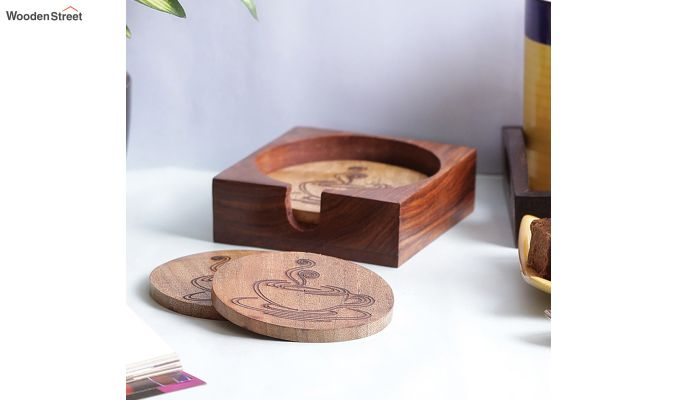 Hand Made Wooden Coffee Coasters - Set of 4-1