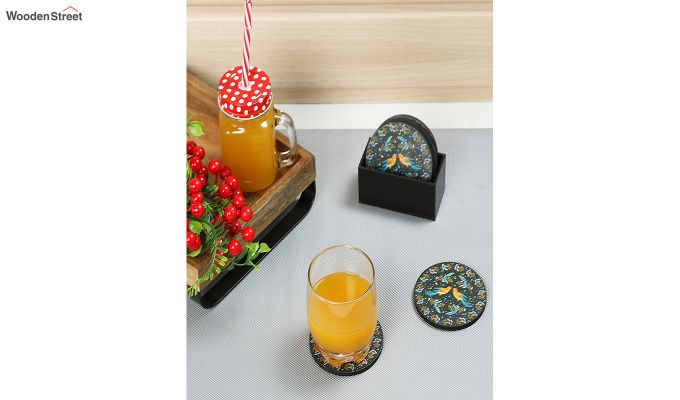 MDF Birds Pattern Coasters with Holder - Set of 6-1