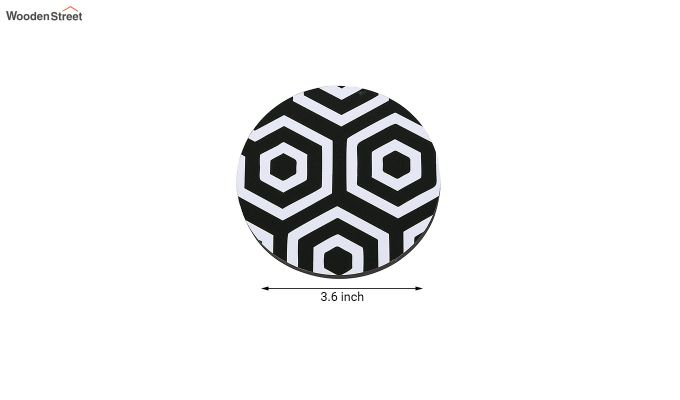 MDF Black and White Coasters with Holder - Set of 6-5