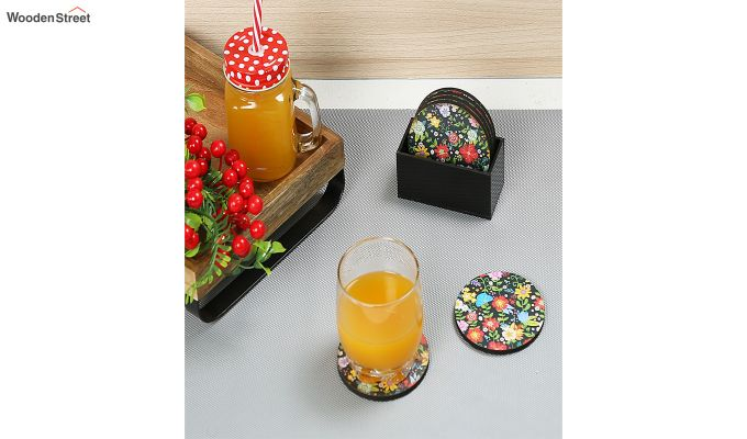 MDF Floral Pattern Coasters with Holder - Set of 6-1