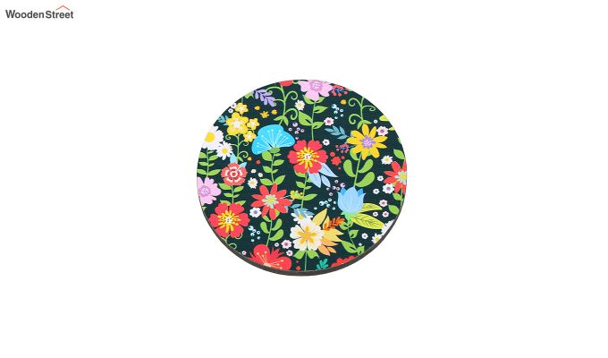 MDF Floral Pattern Coasters with Holder - Set of 6-4