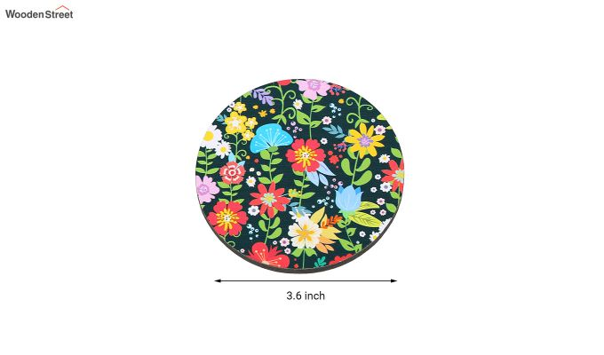 MDF Floral Pattern Coasters with Holder - Set of 6-5