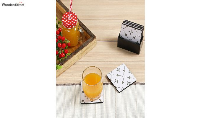 MDF Star Pattern Coasters with Holder - Set of 6-1