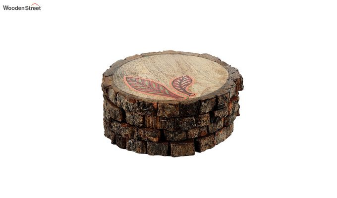 Red Leaf Mango Wood Coasters - Set of 4-3
