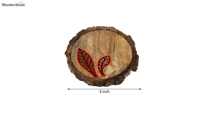 Red Leaf Mango Wood Coasters - Set of 4-5