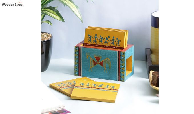Warli Wooden Yellow Blue Coasters - Set of 6-1