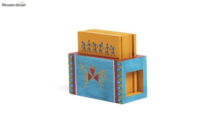 Warli Wooden Yellow Blue Coasters - Set of 6-2