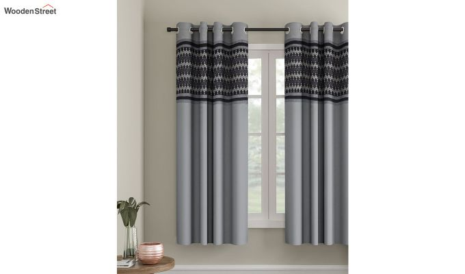 Grey Semi Blackout Embroidered Polyester Window Curtain (60 x 54 inch)-1