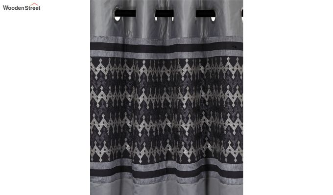Grey Semi Blackout Embroidered Polyester Door Curtain (84 x 54 inch)-2
