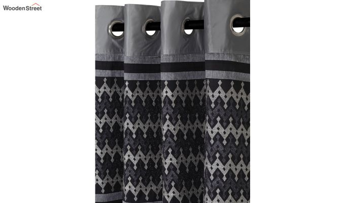 Grey Semi Blackout Embroidered Polyester Door Curtain (84 x 54 inch)-3