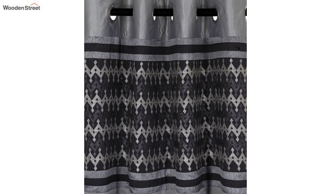 Grey Semi Blackout Embroidered Polyester Long Door Curtain (108 x 54 inch)-2