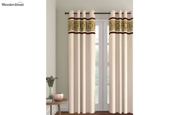 Ivory & Gold Semi Blackout Embroidered Door Curtain (84 x 54 inch)-1