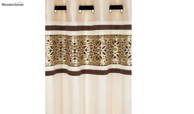 Ivory & Gold Semi Blackout Embroidered Door Curtain (84 x 54 inch)-2