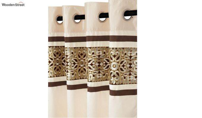 Ivory & Gold Semi Blackout Embroidered Door Curtain (84 x 54 inch)-3