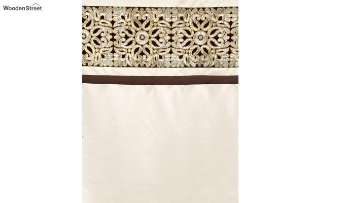 Ivory & Gold Semi Blackout Embroidered Door Curtain (84 x 54 inch)-4
