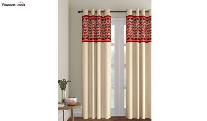 Ivory & Red Semi Blackout Embroidered Door Curtain (84 x 54 inch)-1
