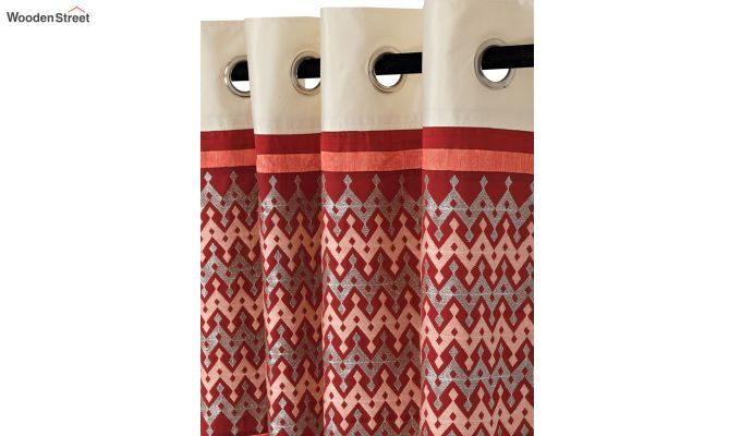 Ivory & Red Semi Blackout Embroidered Door Curtain (84 x 54 inch)-3