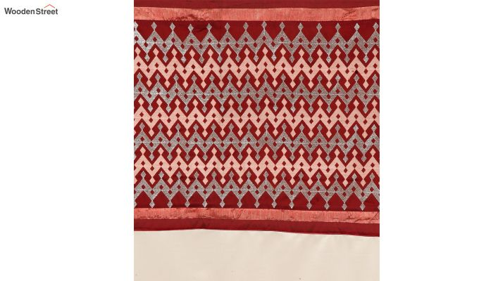 Ivory & Red Semi Blackout Embroidered Door Curtain (84 x 54 inch)-5