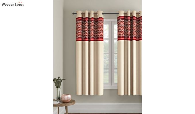 Ivory & Red Semi Blackout Embroidered Window Curtain (60 x 54 inch)-1
