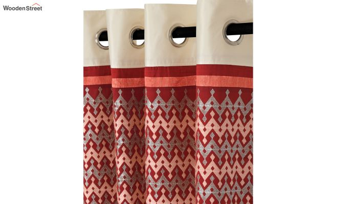 Ivory & Red Semi Blackout Embroidered Window Curtain (60 x 54 inch)-3