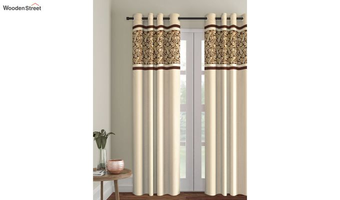 Ivory Semi Blackout Embroidered Polyester Door Curtain (84 x 54 inch)-1