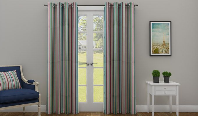 Striped Candy Door Curtain (84 x 48 inch- Set of 2)-1