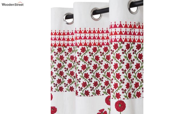 White and Pink Screen Print Cotton Floral Window Curtain (62 x 54 inch)-2