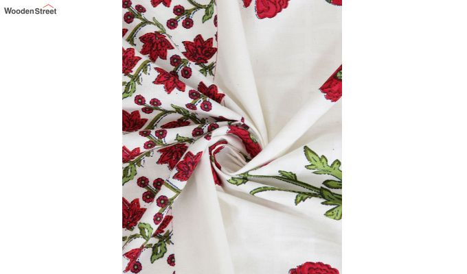 White and Pink Screen Print Cotton Floral Window Curtain (62 x 54 inch)-3