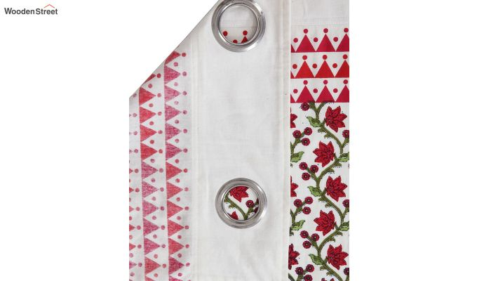 White and Pink Screen Print Cotton Floral Window Curtain (62 x 54 inch)-4