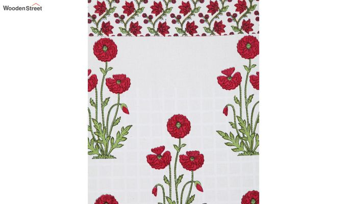 White and Pink Screen Print Cotton Floral Door Curtain (85 x 54 inch)-5