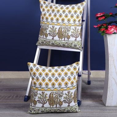 Yellow and White Screen Print Cushion Covers - Set of 2 (16 x 16 inches)