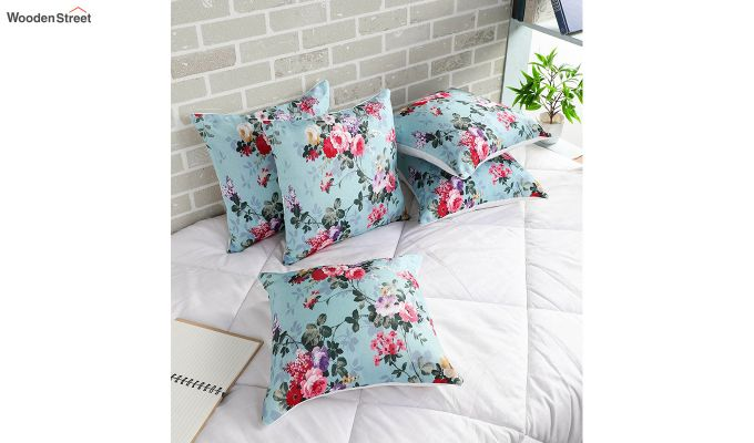 Abstract Blue Floral Pattern Jute Cushion Covers (Set of 5)-1