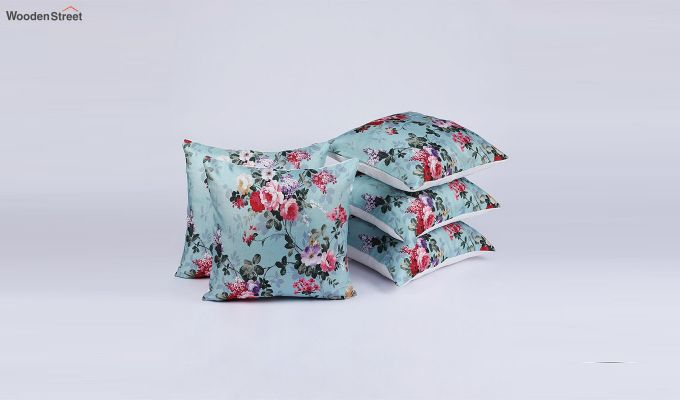Abstract Blue Floral Pattern Jute Cushion Covers (Set of 5)-2