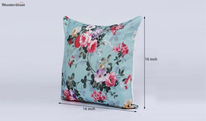 Abstract Blue Floral Pattern Jute Cushion Covers (Set of 5)-3